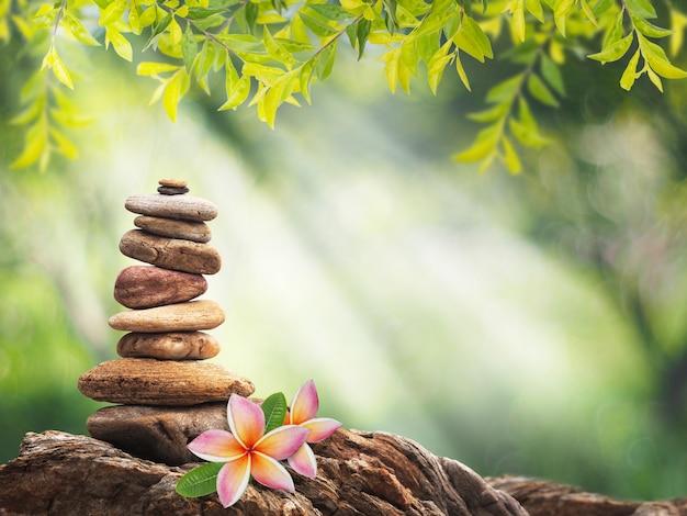 Montón de piedra pequeña como pirámide y flor de plumeria rosa