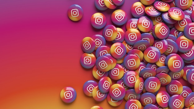 Un montón de píldoras brillantes de instagram 3d sobre un fondo degradado colorido