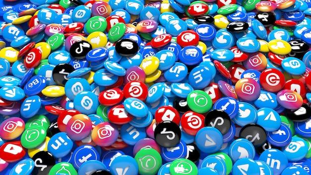 Un montón de píldoras brillantes de red social multicolor 3d en una vista de cerca