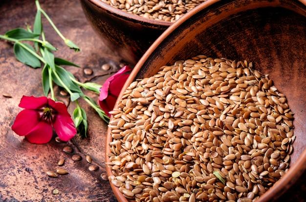 Montón de semillas de lino