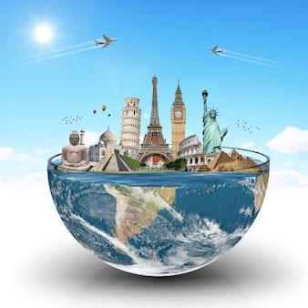 Monumentos del mundo en un vaso de agua.