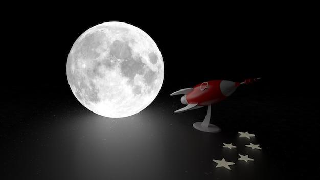 Moonnd cohetes 3d rendering.