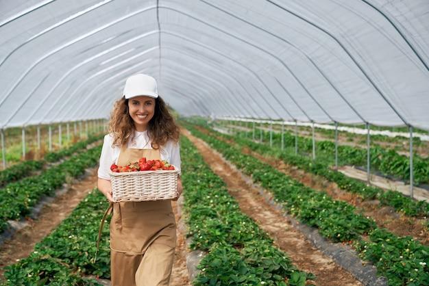 Morena rizada sostiene una gran canasta de fresas