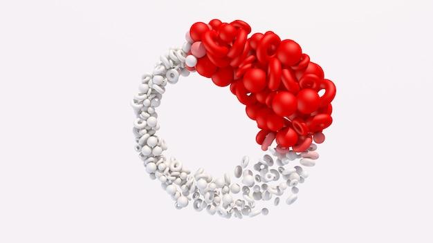 Morphing de formas geométricas rojas y blancas. ilustración abstracta, render 3d.