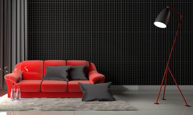 Mosaico negro en la pared en la sala de estar con sofá rojo y alfombra. representación 3d