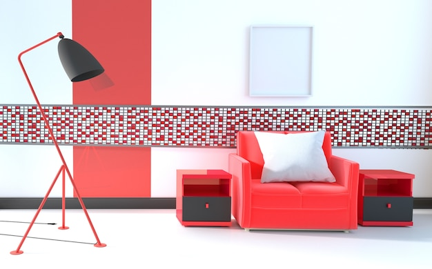 Mosaico rojo en la pared de la sala con sofá y lámpara rojos. representación 3d