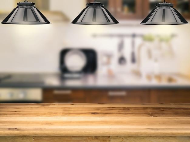 Mostrador de madera con lámparas colgantes de renderizado 3d con fondo de cocina