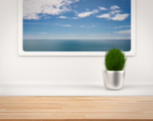 Mostrador de madera con mar azul y cielo azul vista desde la ventana