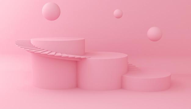 Mostrar fondo para la presentación del producto cosmético. escaparate vacío, representación de la ilustración 3d.