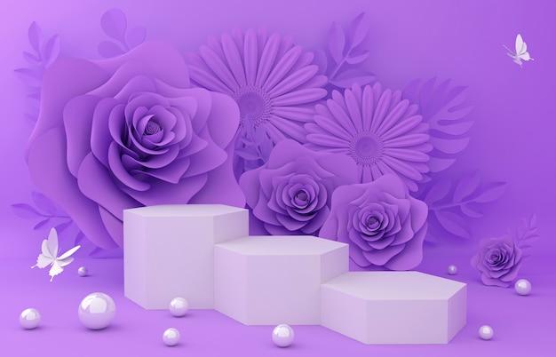 Mostrar podio para la presentación del producto. ilustración de flores 3d rendering