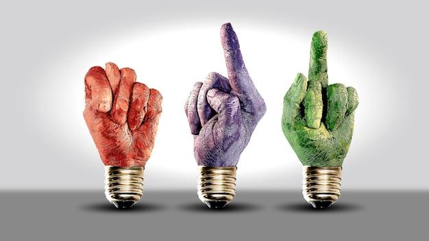 Motivación gesto de la mano humana de diferentes colores emociones