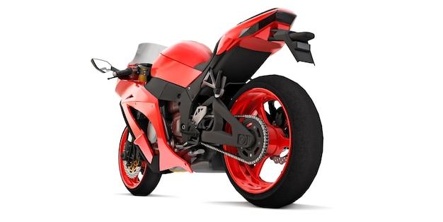 Moto superdeportiva roja 3d sobre fondo blanco aislado. ilustración 3d.