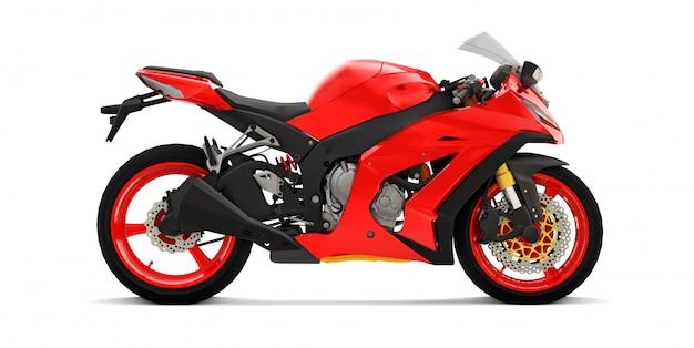 Moto superdeportiva roja 3d