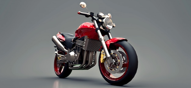 Motocicleta de dos plazas del deporte urbano rojo en un gris. ilustración 3d
