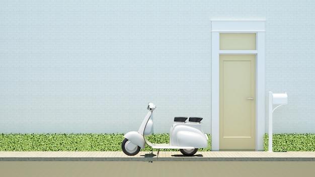 Motocicleta y puerta amarilla sobre fondo de ladrillo blanco