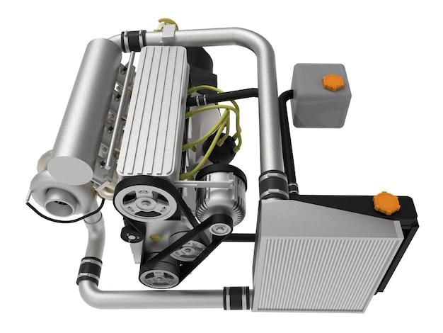 Un motor turboalimentado de cuatro cilindros y alto rendimiento para un automóvil deportivo. representación 3d.