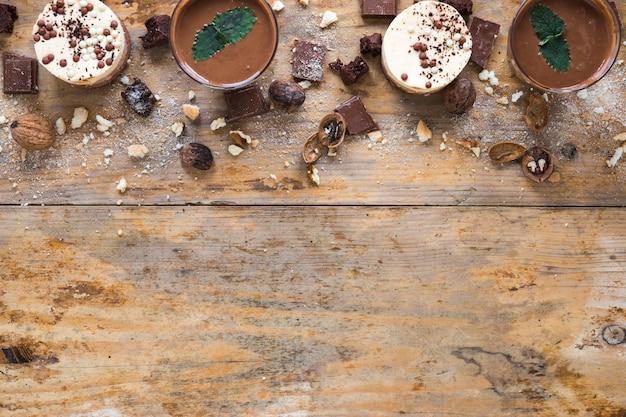 Mousse y tarta de chocolate