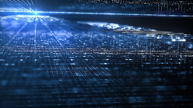 Movimiento del flujo de datos digital.