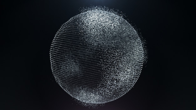 Movimiento partícula tierra concepto negocio digital mapa mundial