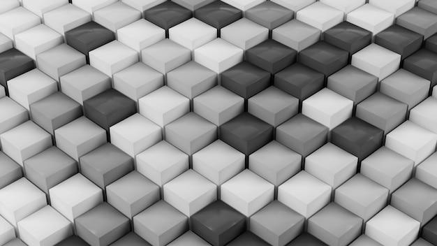 Movimiento de patrón de onda de geometría de cubo blanco abstracto, ilustración de desplazamiento de ondulación de objeto mínimo de representación 3d limpia, fondo de presentación moderna, diseño de pantalla de carga