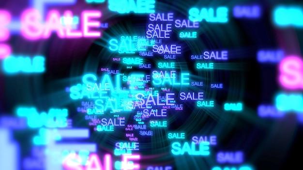 Movimiento de venta de texto de neón en fondo oscuro. ilustración 3d de estilo club dinámico elegante y lujoso