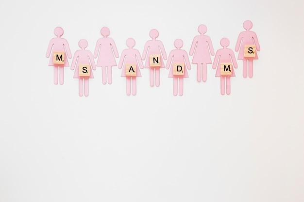 Ms y ms inscripción con íconos de género femenino