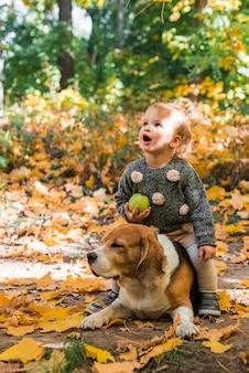 Muchacha bonita que sostiene la bola que se sienta en su perro del beagle del animal doméstico en bosque