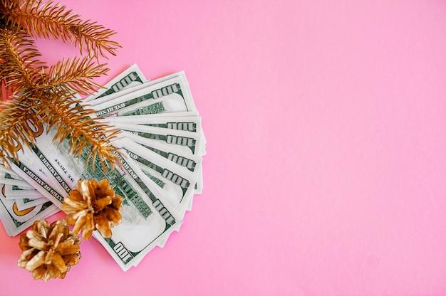 Muchacha emocional en un suéter rojo y un sombrero de santa claus, en la admiración que sostiene el dinero en un fondo rojo. navidad, negocios