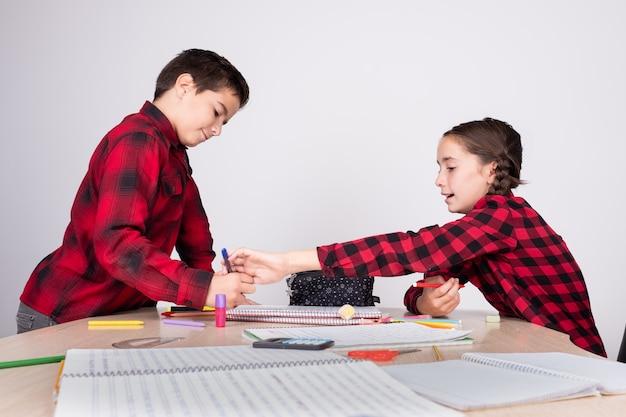 Muchacha enojada que quita el lápiz del niño en la escuela