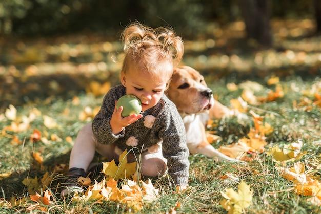 Muchacha que juega con la bola que se sienta en hierba cerca de su perro en el parque