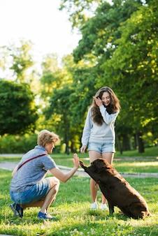 Muchacha que mira a la mujer que da el alto cinco a su perro en parque