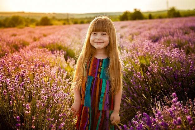 Muchacha de risa del niño en un campo de la lavanda en la puesta del sol.