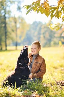 Muchacho adolescente y gran perro negro mountain dog jugando al aire libre en el parque de otoño de árboles amarillos de luz