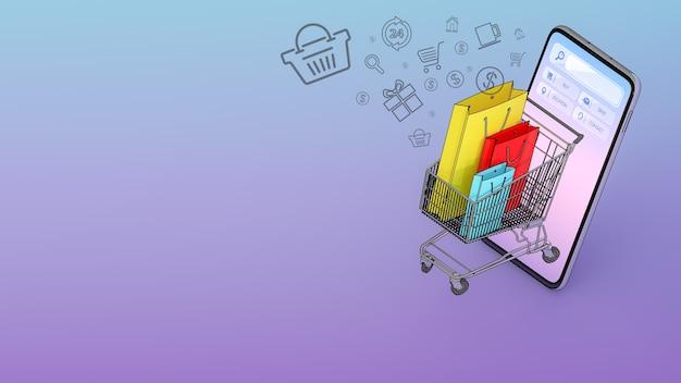 Muchas bolsas de compras en un carrito de compras aparecieron desde la pantalla de los teléfonos inteligentes