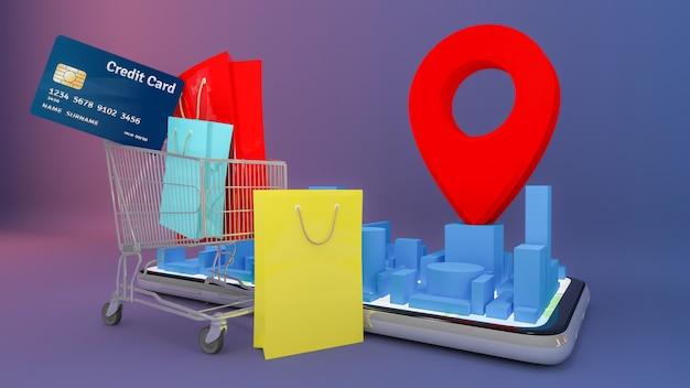 Muchas bolsas de papel y etiquetas de precio y tarjetas de crédito en un carrito de compras con un mapa de la ciudad digital móvil con punteros rojos. compras en línea y concepto de entrega.