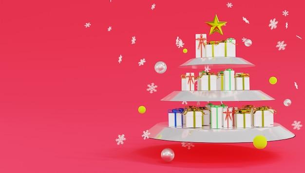 Muchas cajas de regalo se colocan en estantes de vidrio que parecen un árbol de navidad. feliz navidad y próspero año nuevo.