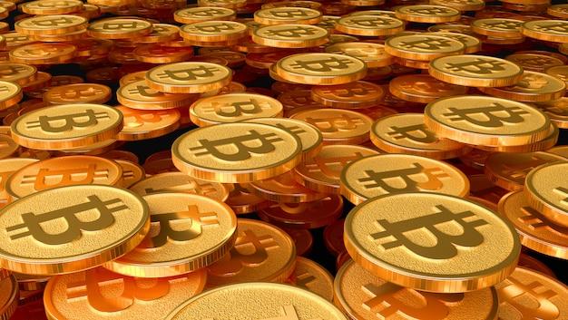 Muchas monedas con la imagen del signo de btc. ilustración 3d
