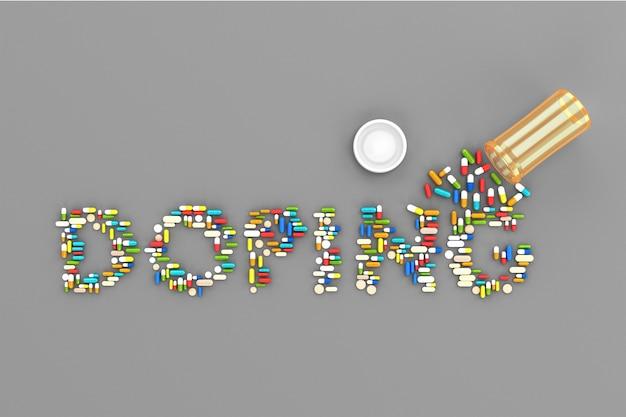 Muchas pastillas dispersas en la palabra dopaje.