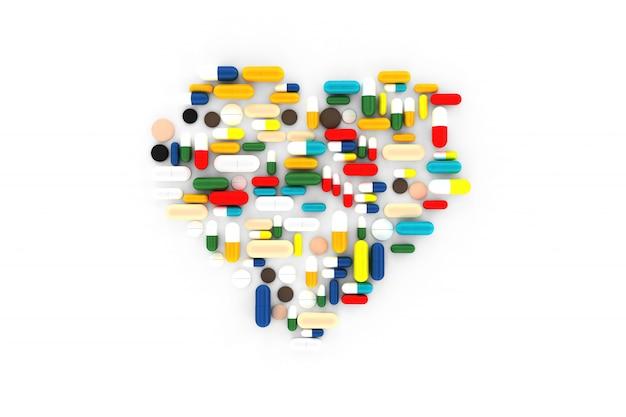 Muchas pastillas dispersas en la superficie en forma de corazones. 3d ilustración