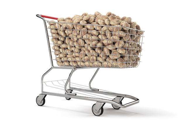Muchas patatas en un carrito de la compra sobre fondo blanco. representación 3d