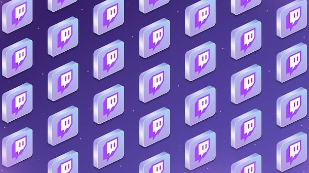 Muchas plataformas con iconos de logotipo de red social twitch 3d