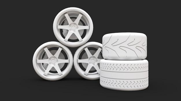 Muchas ruedas de coche deportivo de pie juntos. instalación de estilo minimalista. representación 3d