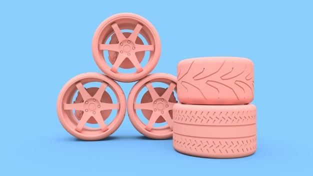 Muchas ruedas de coche deportivo de pie juntos. instalación de estilo minimalista