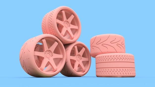 Muchas ruedas de coche deportivo de pie juntos