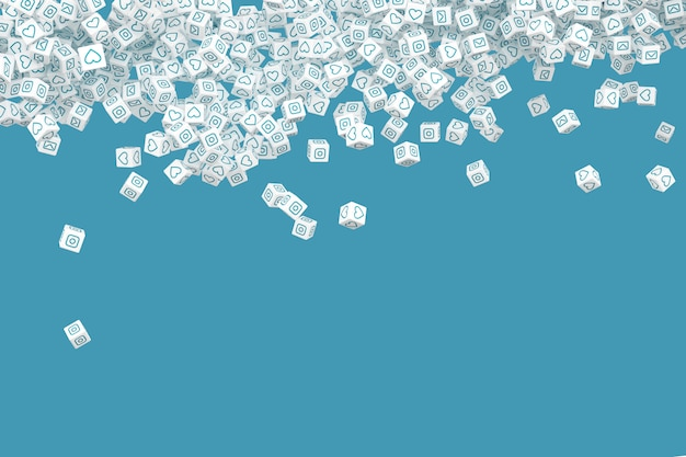 Muchos de los bloques que caen con los iconos sociales en las caras. 3d ilustración