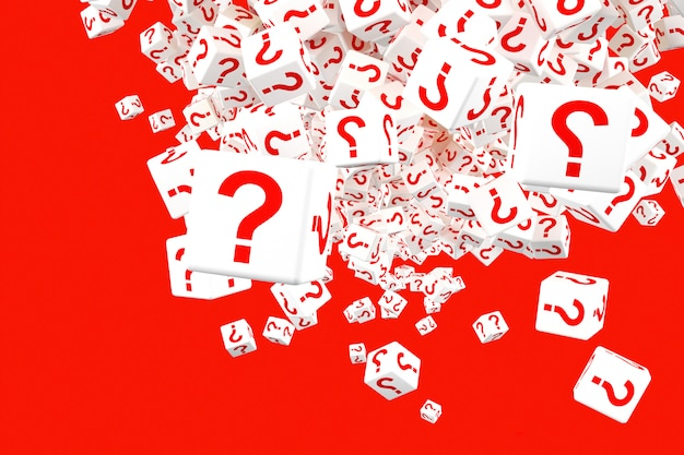 Muchos bloques que caen con signos de interrogación. 3d ilustración