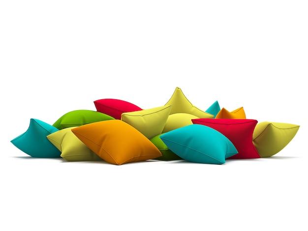 Muchos cojines de colores aislados sobre fondo blanco. ilustración 3d