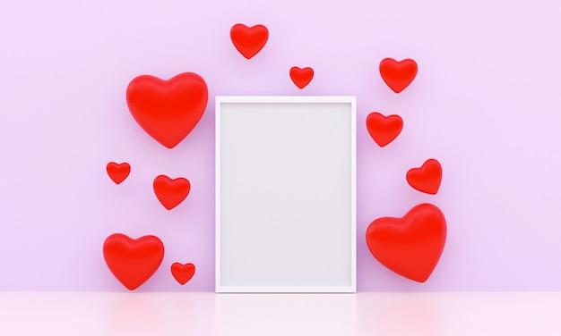 Muchos corazones rojos y marco blanco en blanco en el centro, poniendo en un fondo púrpura. concepto dulce de san valentín.