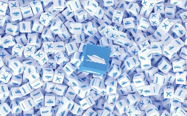 Muchos cubos dispersos con logotipos de diferentes tipos de transporte. ilustración 3d
