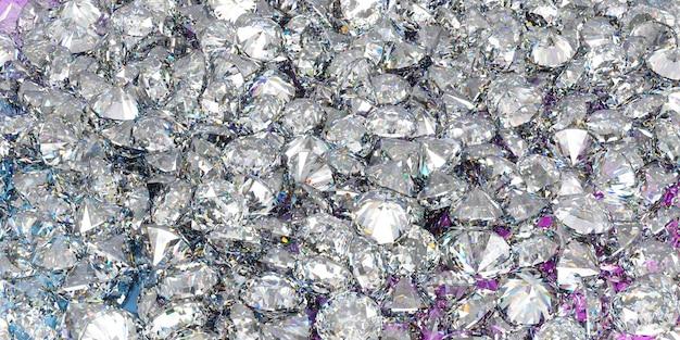 Muchos diamantes en una gran pila en fotograma completo, ilustración 3d